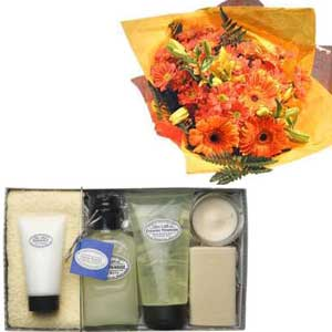 Hand Tied Bouquet and Evening Primrose Pampering Gift Set